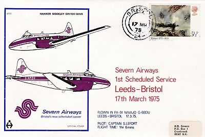 Gb 1975 Severn Airways First Flight Cover From Bristol To Leeds 49*