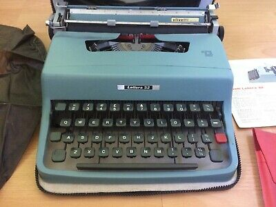 Olivetti Lettera 32 Typewriter Cased with Leaflet , Cover and Brush Kit