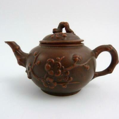 Chinese Yixing Teapot With Moulded Prunus Decoration
