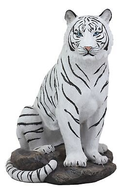 "Sitting Albino The Bengal White Tiger Statue Wild Giant Cats Tigers Decor 9""H"