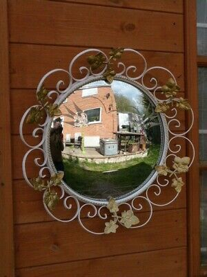 Lovely Vintage Mid Century Ornate Metal & Etched Convexed Glass Wall Mirror.