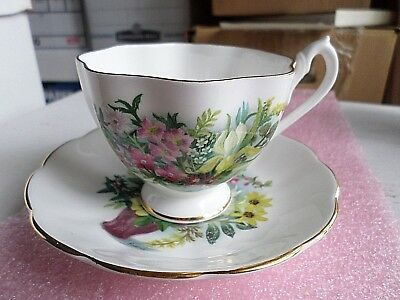 Queen Anne Fine Bone China England, Cup & Saucer Basket Of Flowers