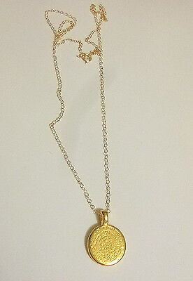 Solid  twenty Inch 14 K Yellow Gold Chain with Phaistos Disc Pendant Necklace !!