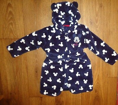 Baby Boy GEORGE Mickey Mouse Fleece Navy/White Dressing Gown Age 18-24 Months