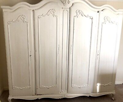 Vintage French Louix XV Style Four Door Oak Armoire Wardrobe Painted Shabby Chic