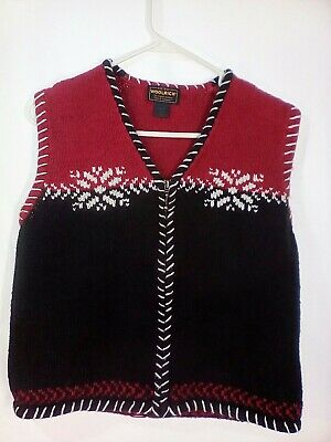 Women's Woolrich Vest Size Large Zip Up Cotton Blend Blk/Red Holiday Embroidered