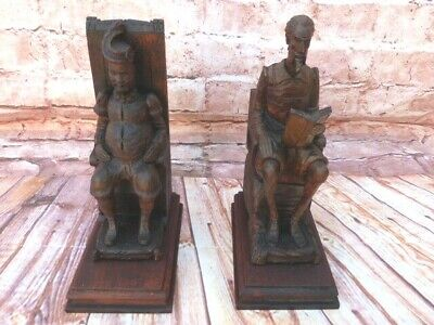 Lovely Pair Of Rare Antique Vintage Hand Carved Solid Wood Figurine Bookends