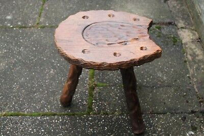 Antique Vintage Pine Lucky Horseshoe Carved Shaped Stool Chair Decor 3 Legs Vgc