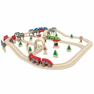 Hape Jeu de chemin de fer High & Low E3701 Circuit de train pour enfants