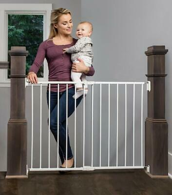 Extra Wide 2-in-1 Stairway & Hallway Safety Gate w/ Mounting Kit, for Pet Kids