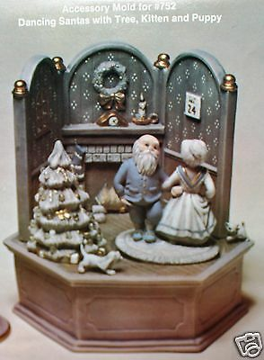 Ceramic Bisque Christmas Scene Dancing Claus Music Box Scioto 752 Ready To Paint