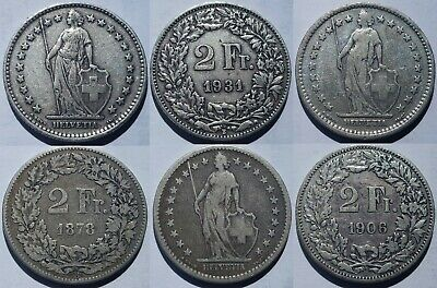 Switzerland 2 Francs Silver Coins 1878-1964 Pick Yours