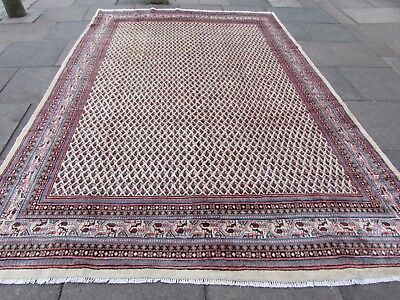 Old Hand Made Traditional Vintage Rug Oriental Wool Cream Large Carpet 356x240cm