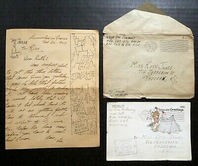 1944 & 1945 WWII (2) US Army Examined Soldier's CHRISTMAS CARDS