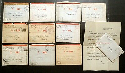 1943 WWII (10) US Army Examined Soldier's V-MAIL Self-Folding Air Letters