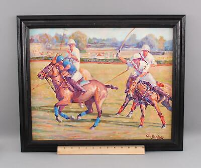 Original EDWARD BRODNEY Polo Match Equestrian Sports Horse Oil Painting