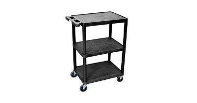 Luxor Utility Cart 3 Shelf Black Weight Capacity 400 lbs Capacity & Push Handle