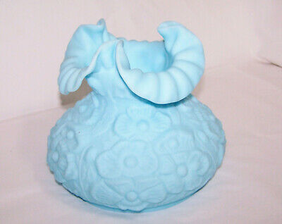 """Vintage FENTON Blue Satin POPPY Lamp Shade Fits 7"""" Fitter ~ Excellent"""
