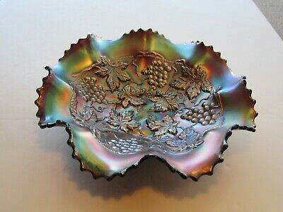 Antique Northwood Fiery Amtheyst Grape & Cable 8 Ruffle Edge Carnival Glass Bowl