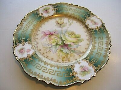 Fantastic Antique Florals & Gold With Greek Key Designs & Beaded Edge Plate