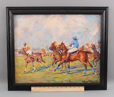 Authentic EDWARD BRODNEY American Genre Polo Equestrian Sport Oil Painting