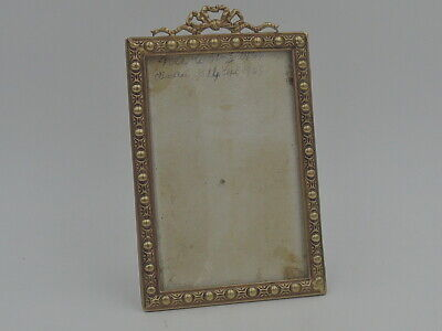 "Antique French Gilt Ormolu Beaded Brass Photo Frame 4"" x 2 1/2"" Picture Louis XV"