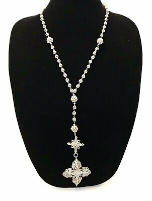 Gorgeous VINTAGE Antique 800 Sterling Silver FILIGREE  Rosary - 48g, Not Scrap