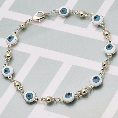"NEW Lovely Greek - Evil Eye Bracelet~Enamel~14K Gold Filled~8""~Includes Gift Bag"