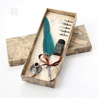Feather Quill Pen,Aolvo Fountain Dip Pen Set Wit Ink, Holder and Nibs...