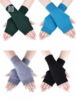 4 Pairs Cashmere Feel Fingerless Gloves with Thumb Hole Warm for Women and Men