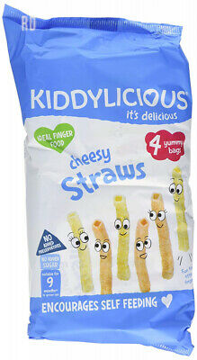 Kiddylicious Multipack Cheesy Straws 4 Packs (Pack of 4, Total 16 Bags)