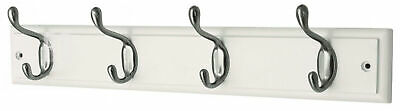 keypak 4-Hook Wall-Mounted Coat Rack, White, Brushed Nickel