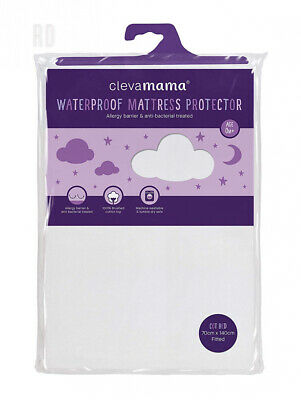 Clevamama Waterproof Mattress Protector Crib - Breathable Fitted Sheet 90x40 cm