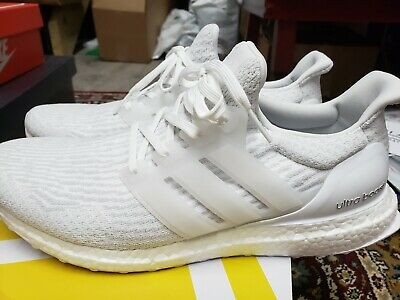 bbc1f0733e6 Adidas Ultra Boost 3.0 Triple White Running Shoes Mens Size 13 BA8841