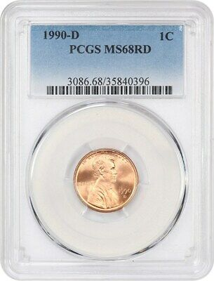 1990-D 1c PCGS MS68 RD - Lincoln Cent