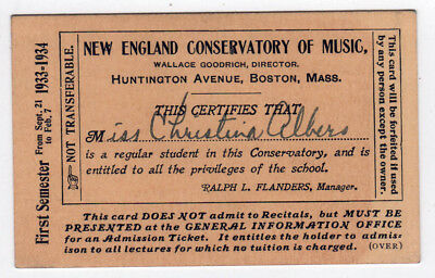 1933 Nec New England Conservatorio de Música Boston Massachusetts Estudiante
