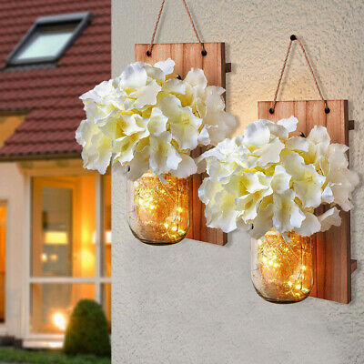2pcs Mason Jar Sconce With LED Fairy Lights Rustic Hanging Wall Decoration DIY