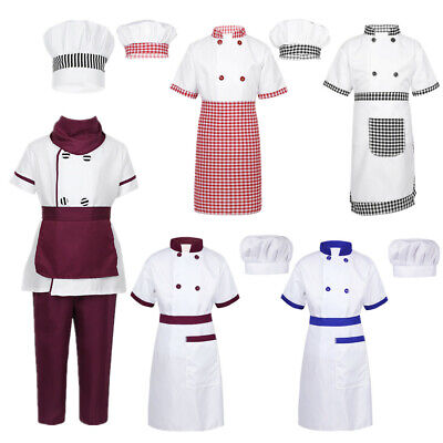 Kids Chef Fancy Dress Girls Boys Cook Uniform Cosplay Costume Cooking Apron Cap