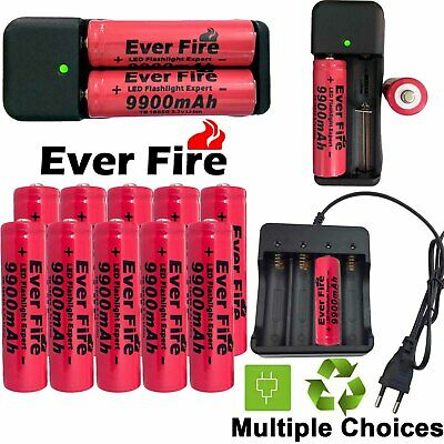 Powerful 3.7V 9800mAh Rechargeable Li-ion 18650 Battery Charger For Flashlight