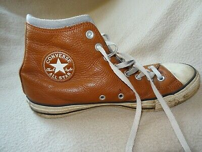 821faaae2250 Converse All Star Ct Brown Leather Trainers Hi Tops Top Size 8.5 Uk 42 Euro  B26