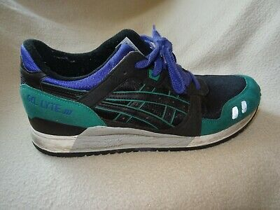 ASICS GEL LYTE Iii Black Green Running Gym Trainers Size 9 Uk 43 Euro 10 Us B28