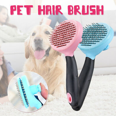 Handle Pet Dog Cat Hair Brush Pin Trimmer Shedding Fur Grooming Clean Comb Tool