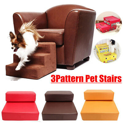 Folding Portable Steps Dog Cat Pet Stairs Ramp Ladder Leather Cover Sofa Bed Set