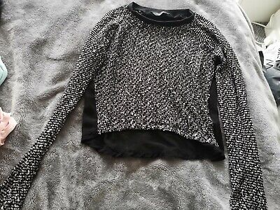 New Look 915 Girls Black Grey Knit Mesh Back Top Jumper 12-13 Years