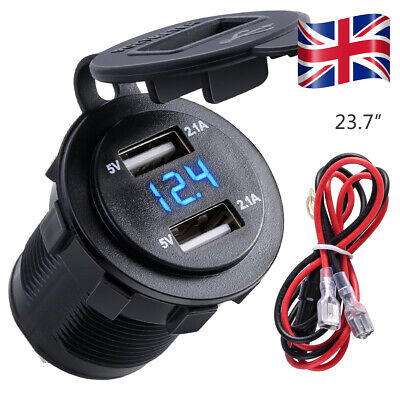 Car Motorcycle Waterproof 4.2A Dual Usb Charger Socket With Outlet LED Voltmeter