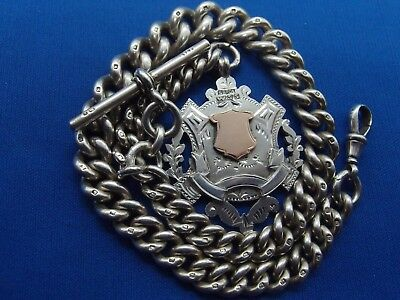 HEAVY 1897 SILVER ALBERT POCKET WATCH CHAIN 9ct GOLD SILVER DOUBLE SIDED FOB 97g