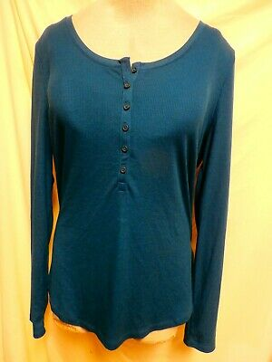 Old Navy New Teal Pullover Ribbed Poly/Rayon Blend Long Sleeve Top XL