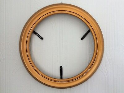 """Gold Round Hanging Wooden Collector 8 1/4"""" Plate Display Frame (Ap2)"""