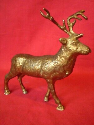 Antique/Vintage Gold Gilt Spelter Model Of A Stag.....clock Topper ?