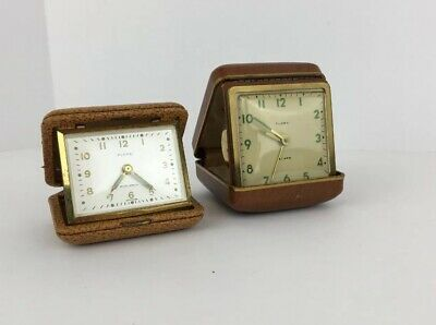 Vintage (2) Florn Mechanical Wind Up Travel Alarm Clock Parts As Is For Repairs